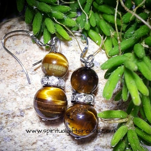 Tigers Eye Earrings Sterling Silver Hooks