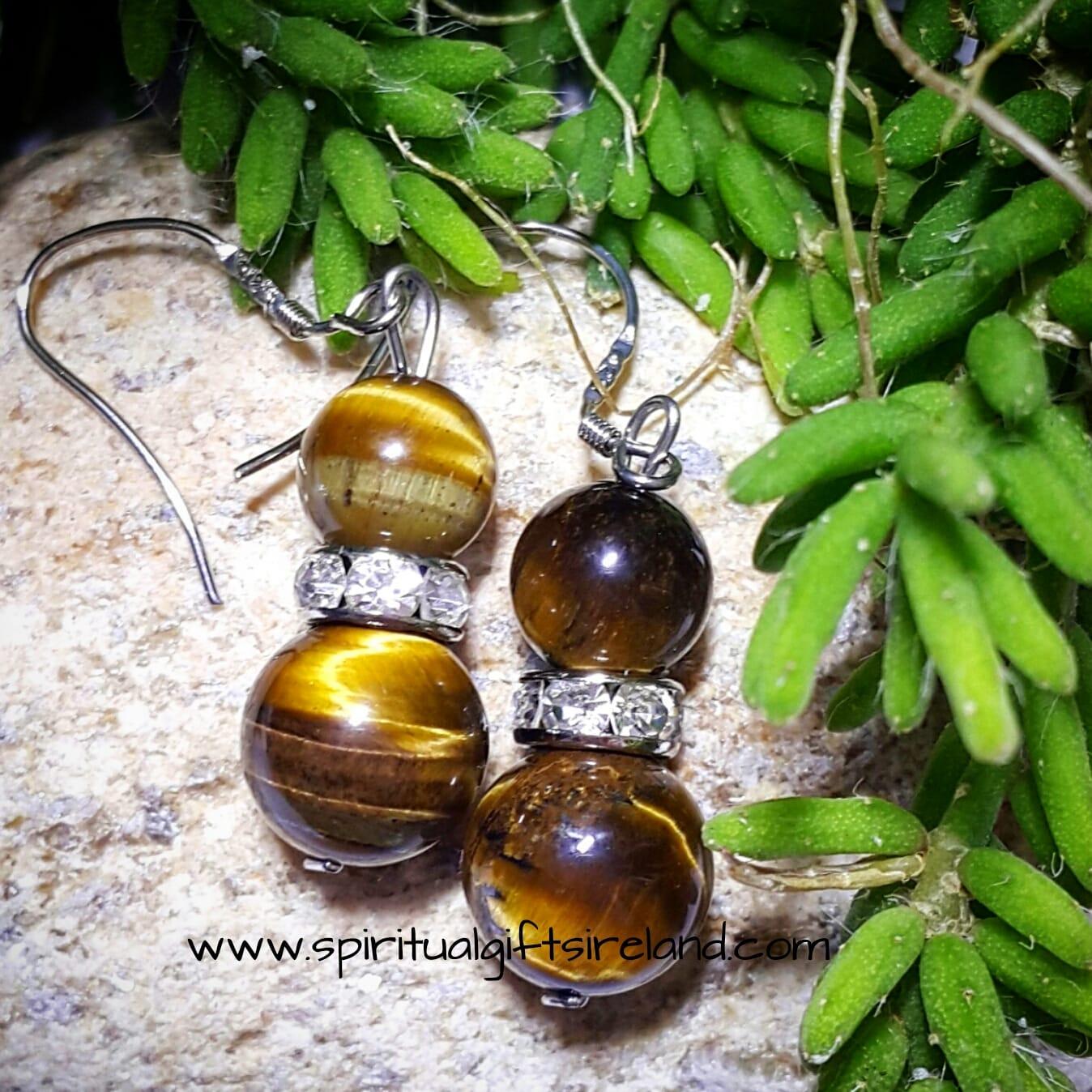 Tigers Eye Earrings Sterling Silver Hooks