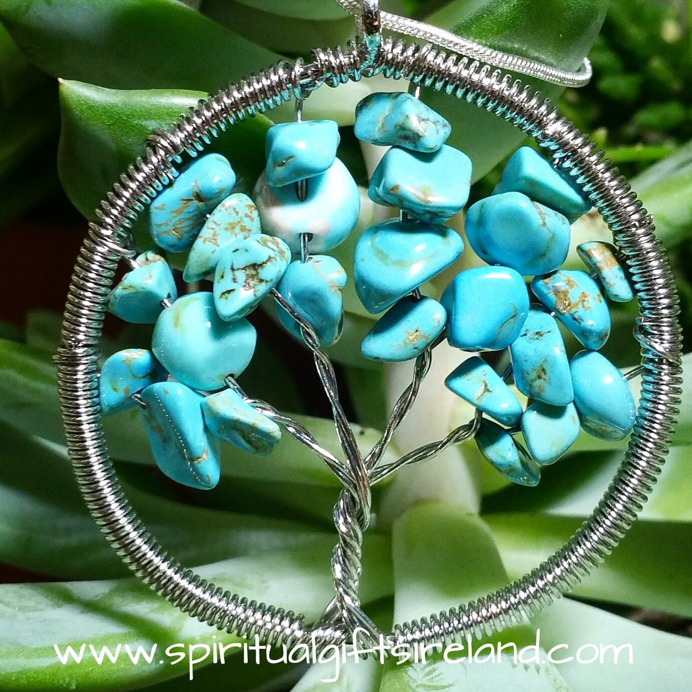 Turquoise Tree of Life Pendant Necklace