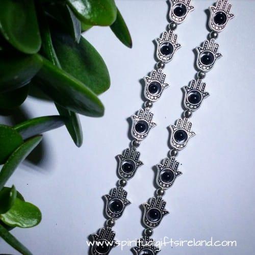 Black Agate Reiki Hamsa Hand Bracelet