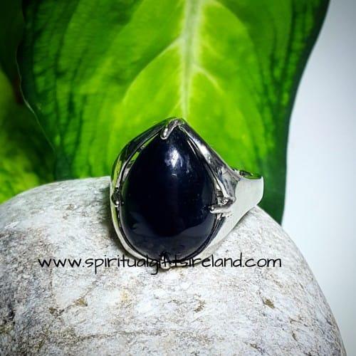 Black Agate Ring Adjustable