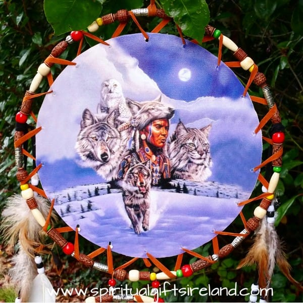 Native American Wolf Dreamcatcher Extra Large 3 Ring Owl