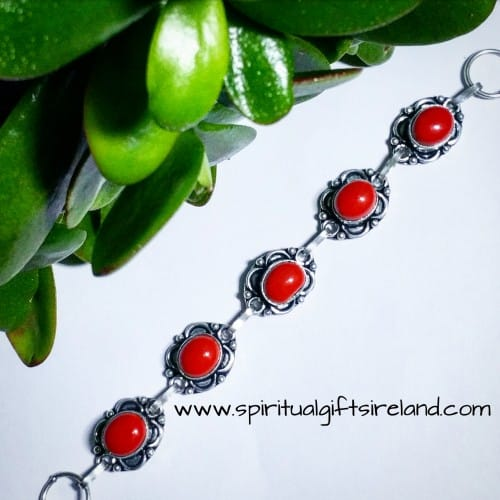 Ocean Red Coral Gemstone Bracelet