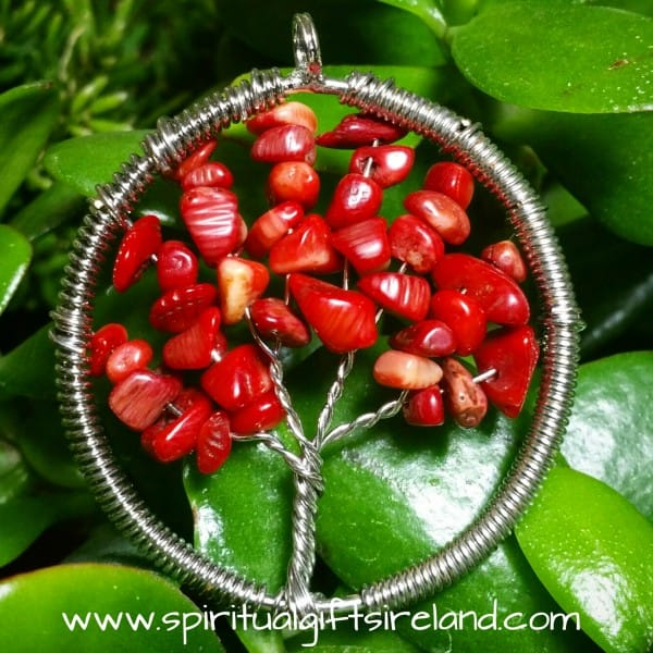 Red Coral Necklace Tree of Life