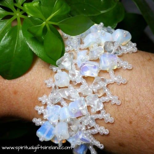 Opalite and Clear Quartz Gemstone Chip Bracelet