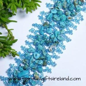 Turquoise Gemstone Chip Crystal Bracelet