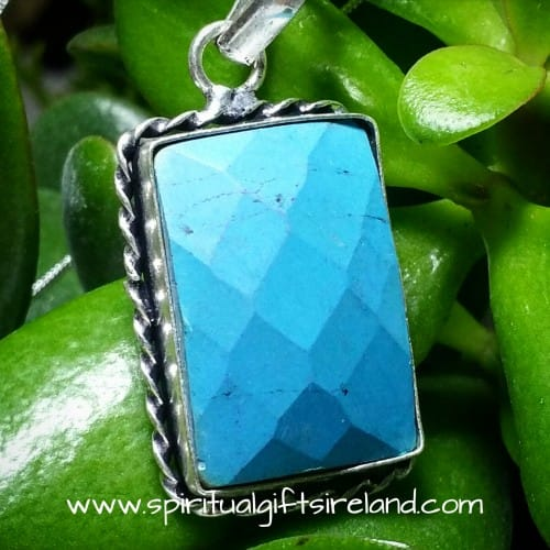 Turquoise Sterling Silver Faceted Gemstone Necklace