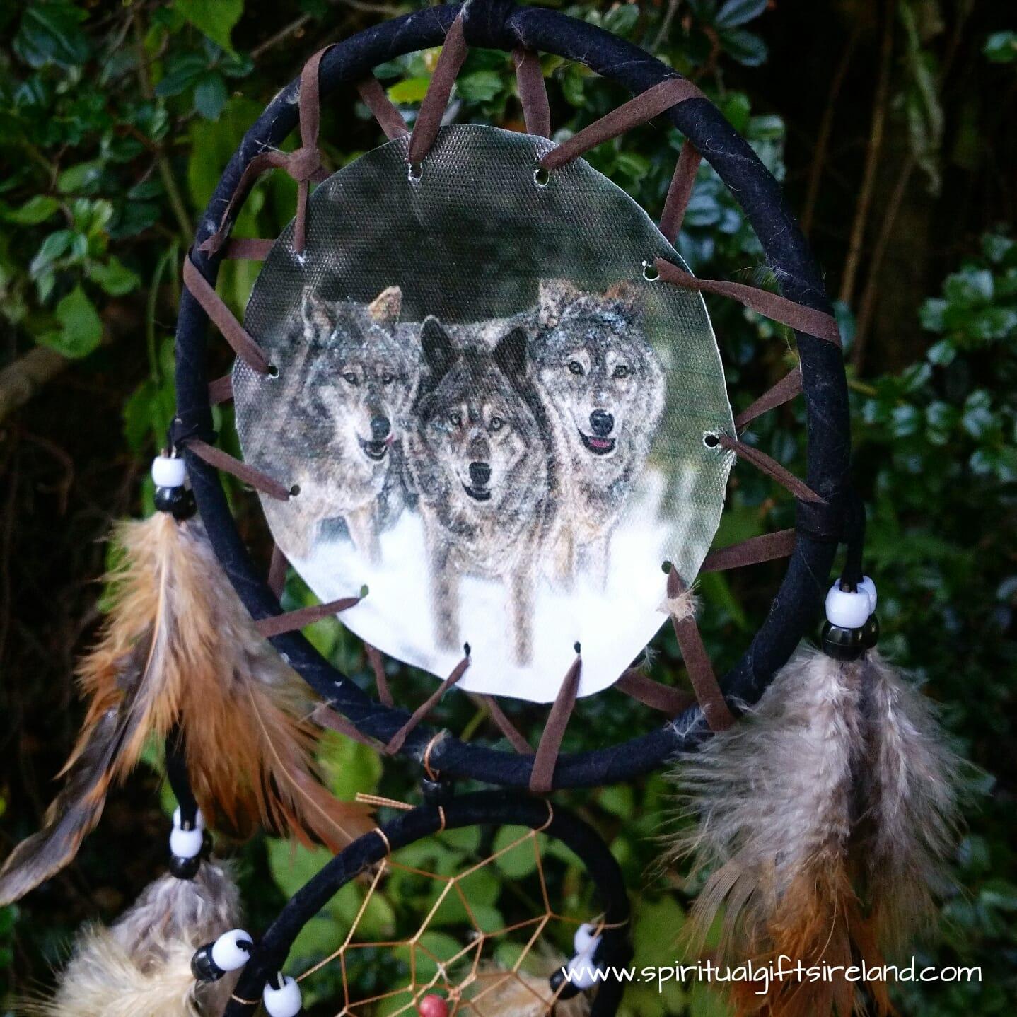 Native American Wolf Pack Medium 3 Ring Dreamcatcher