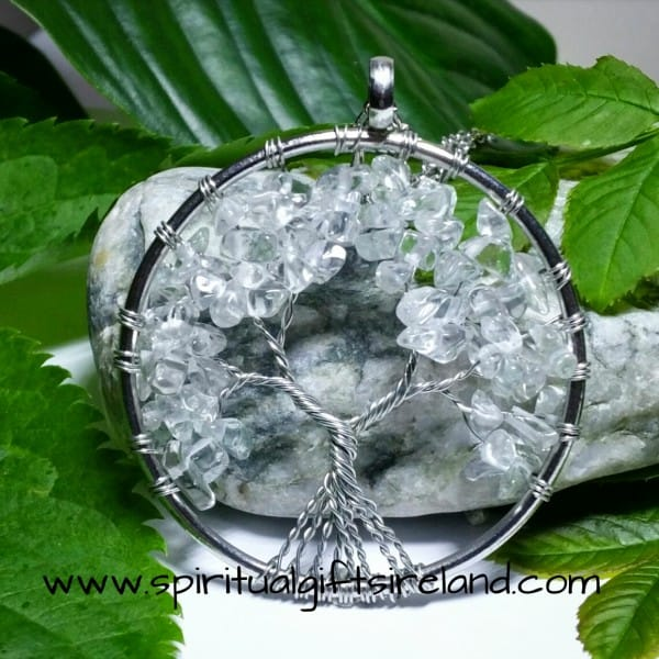Clear Quartz Tree of Life Crystal Gemstone Pendant
