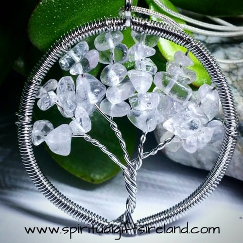 Clear Quartz Tree of Life Crystal Pendant