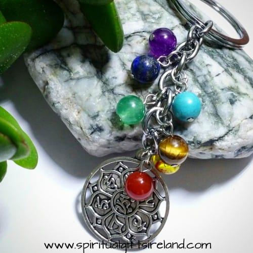Lotus Medal Chakra Crystal Keyring Keychain