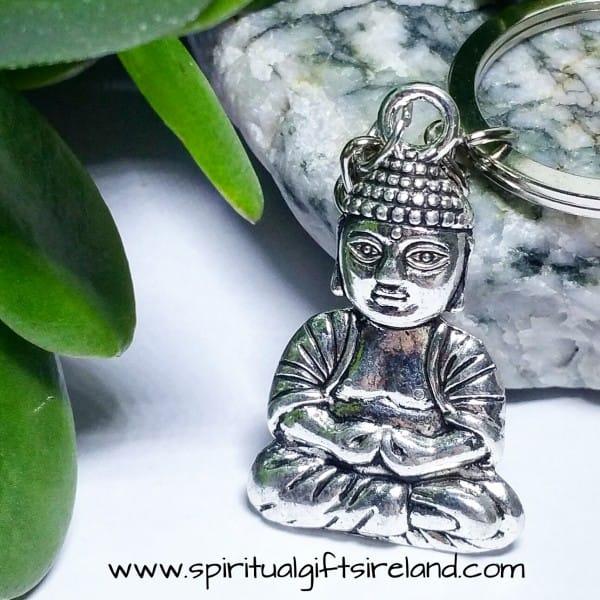 Sitting Buddha Silver Keyring