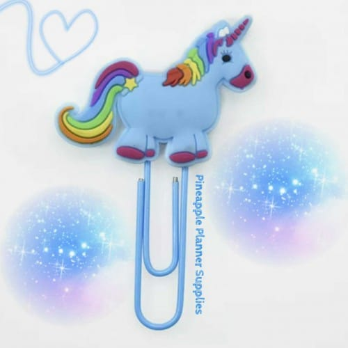 Unicorn Rainbow Paperclips Blue