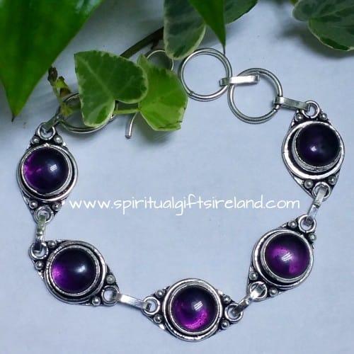 Amethyst Crystal Gemstone Sterling Silver Bracelet