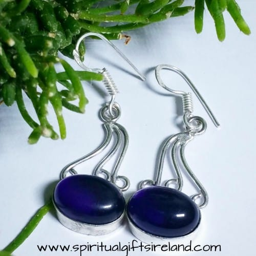 Amethyst Crystal Gemstone Sterling Silver Earrings