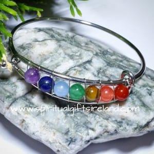 Chakra Healing 7 Stone Bangle Bracelet Silver
