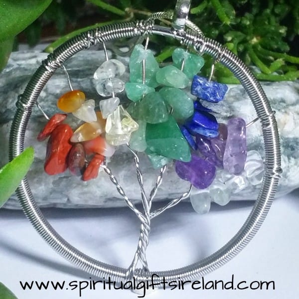 Chakra Stones Tree of Life Gemstone Crystal Necklace
