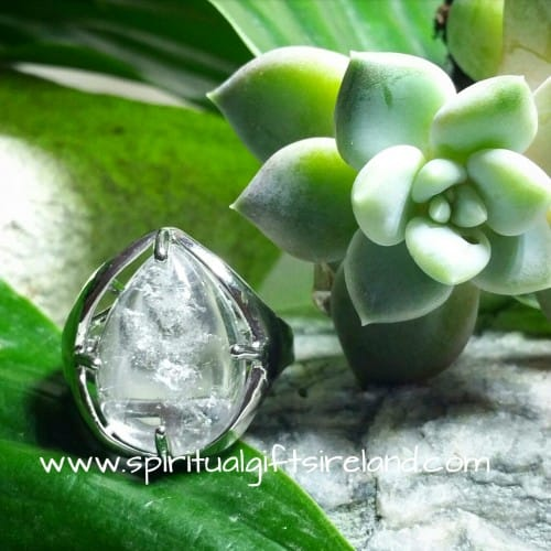Clear Quartz Crystal Gemstone Silver Clarity Ring