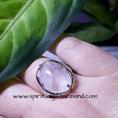 Clear Quartz Silver Ring Adjustable