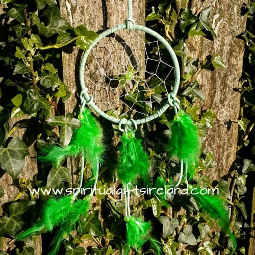 Green Dreamcatcher Fluffy Feathers