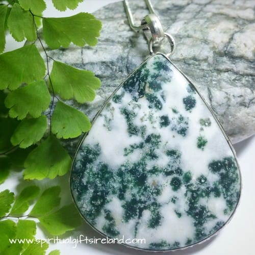 Moss Agate Huge Harmony Gemstone Crystal Necklace
