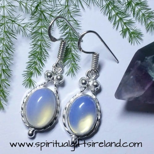 Opalite Crystal Gemstone Earrings Sterling Silver