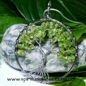 Peridot Tree of Life Crystal Gemstone Necklace