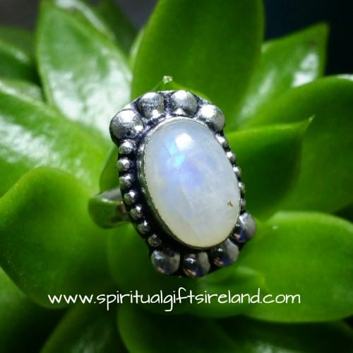 Rainbow Moonstone Crystal Dewdrop Ring Sterling Silver