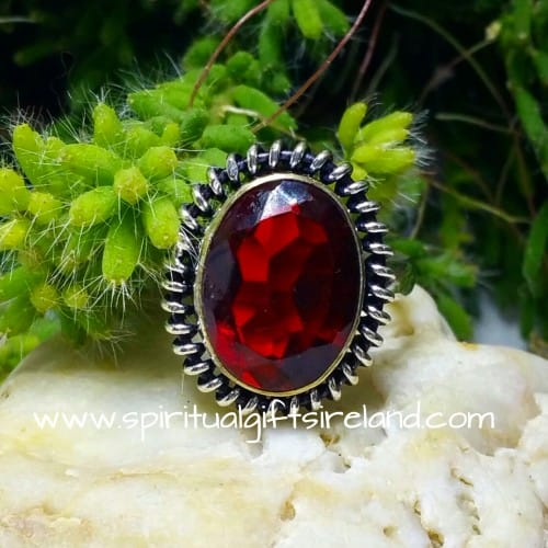 Red Garnet Root Chakra Handcrafted Ring Sterling Silver