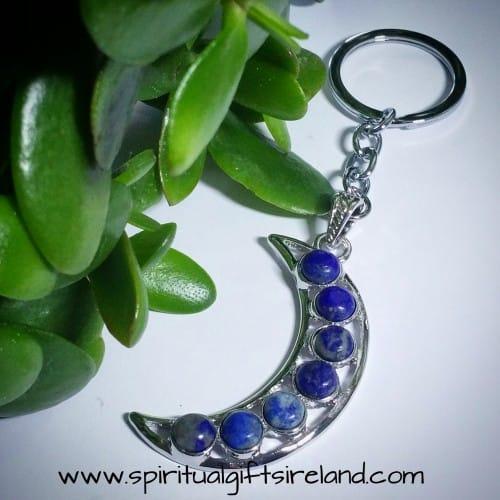 Sodalite Crystal Gemstone Moon Crescent Keychain Keyring