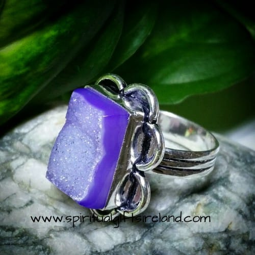 Star Dust Druzy Cube Sterling Silver Ring
