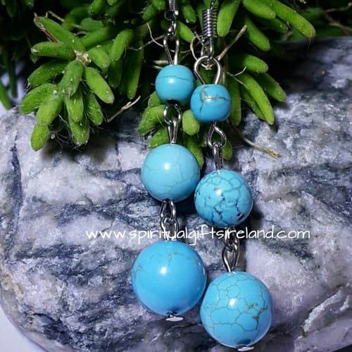 Turquoise 3 Stone Earrings
