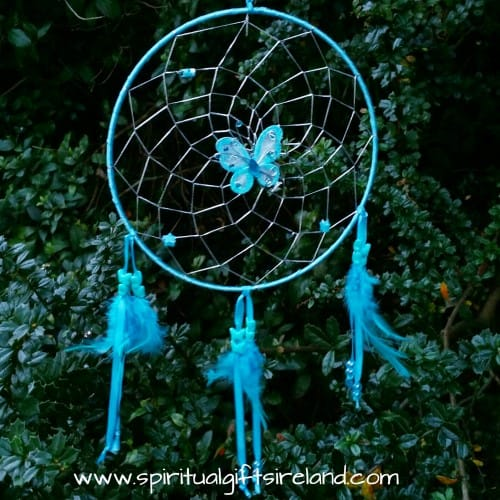 Turquoise Blue Butterfly Feather Dreamcatcher