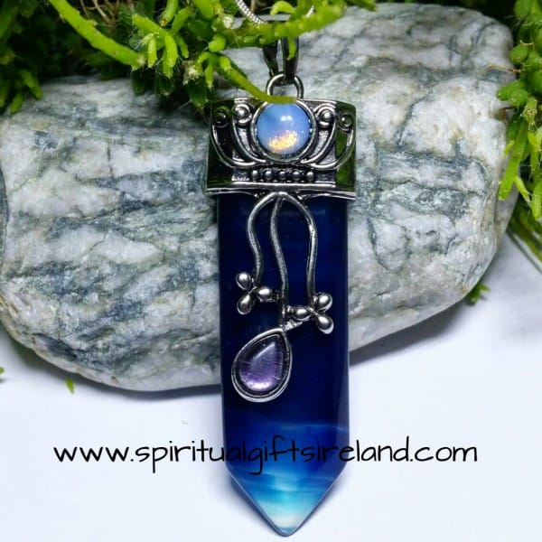 Botswana Blue Agate Divine Goddess Gemstone Necklace