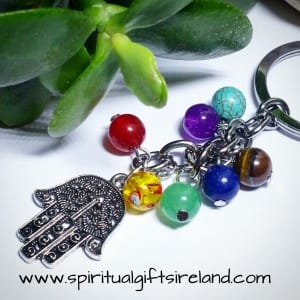 Chakra Healing Stones Reiki Hamsa Hand Keyring Keychain