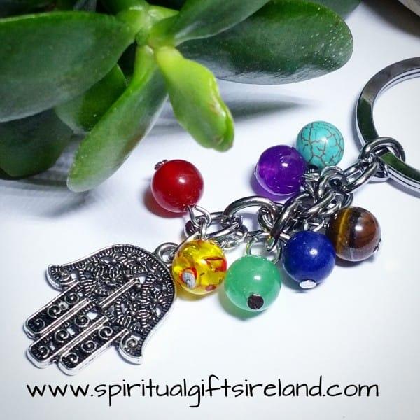 Chakra Stones Reiki Hamsa Hand Keychain