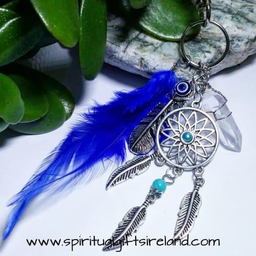 Clear Quartz Feather Dreamcatcher Keyring Keychain