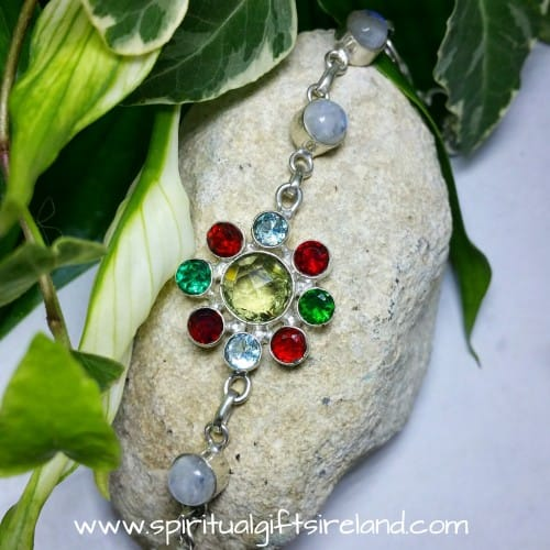 Rainbow Moonstone Crystal Gemstone Flower Bracelet