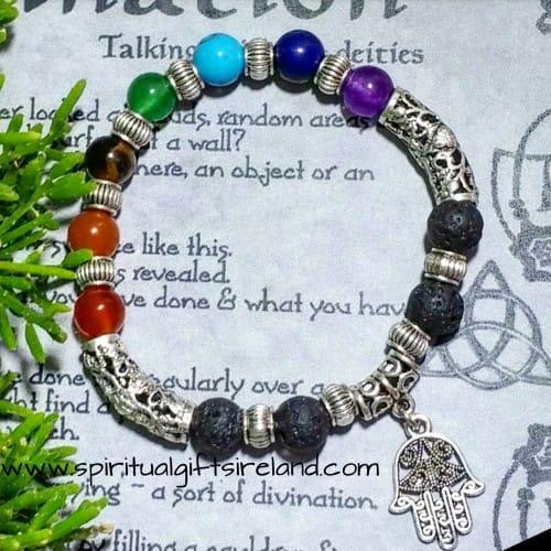 Lava Stone Aromatherapy Reiki Hamsa Hand Chakra Bracelet