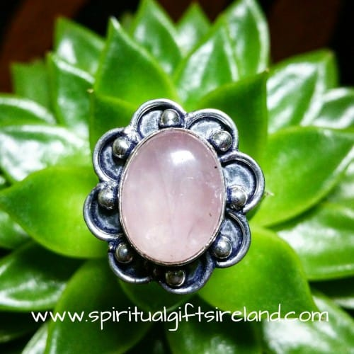 Rose Quartz Petals Crystal Gemstone Sterling Silver Ring (2)