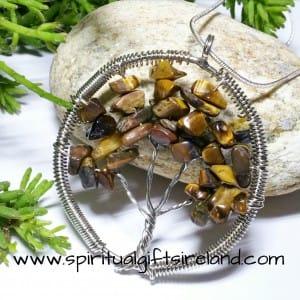 Tigers Eye Tree of Life Gemstone Crystal Pendant
