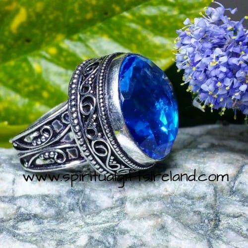 Topaz Blue Sky Huge Crystal Gemstone Ring Sterling Silver