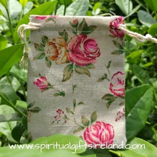 Vintage Rose Print Cotton Linen Mix Drawstring Pouches