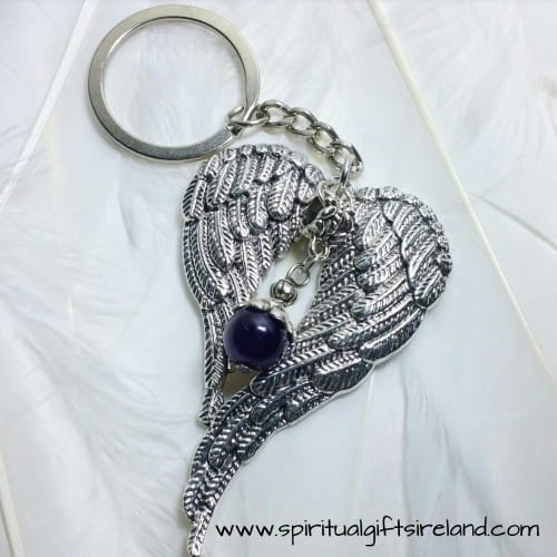 Amethyst Crystal Gemstone Angel Wings Keyring Keychain