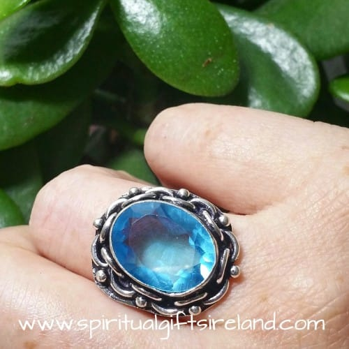 Aqua Marine March Birthstone Faceted Gemstone Crystal 925 Ring