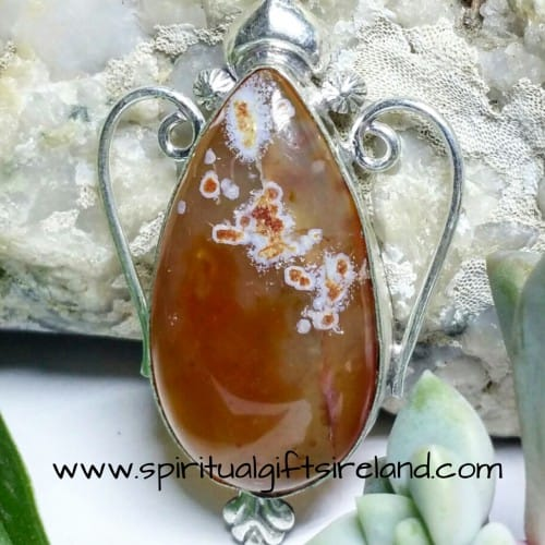 Carnelian Sun Energy 925 Gemstone Crystal Necklace Pendant