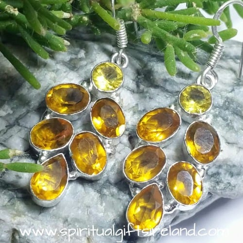 Citrine and Yellow Tourmaline Gemstone Sterling Silver Earrings