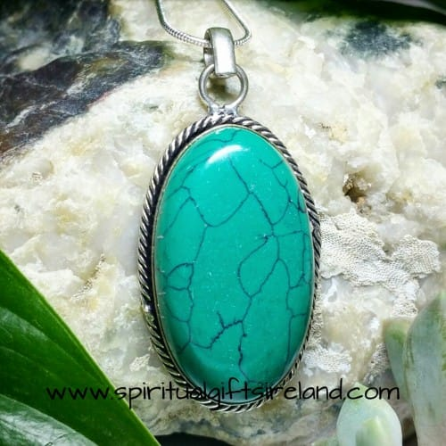 Green Turquoise Gemstone Pendant Necklace Sterling Silver