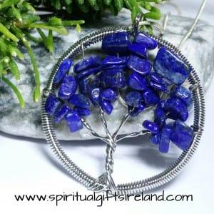Lapis Lazuli Tree of Life Gemstone Crystal Pendant