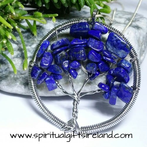 Lapis Lazuli Tree of Life Gemstone Crystal Pendant